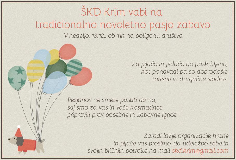 Vabilo Novoletna zabava Krim